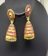 Red & Gold Plated Fashion Earrings