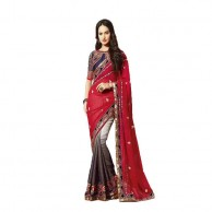 Red Gray Designer Saree