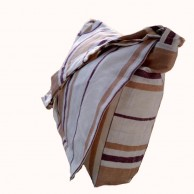 White And Brown Hand Loom Side Bag