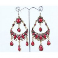 Silver Tone Bronze Red Drops Bohemian Retro Earrings