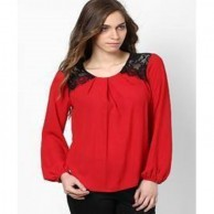 Red Casual Scoop Neck Ladies short Top