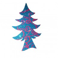Pack Of 10 Dark Blue Designed Christmas Decoration Tree Stickers
