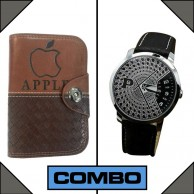 Combo of Paidu Japanese Watch and Leather Apple Wallet