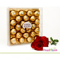 Ferrerocher chocolate 24 pcs with single red roses CHO001