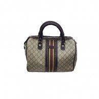 Gucci Womens White And Brown Designed Handbag