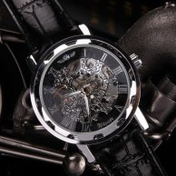 Men's Black Strap Dial Skeleton Mechanical Wrist Watch