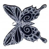 3D Black and White Butterflies