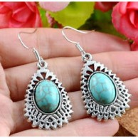Classical Cute Turquoise Natural Tibet Silver Hook Earrings