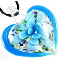 Flower Blue Colour Glass Necklace
