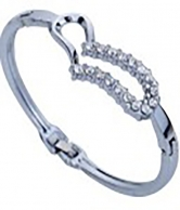 Women Silver Plated Crystal Inlay Heart Bracelet