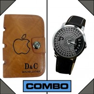 Combo of Paidu Japanese Watch and DC Leather Wallet
