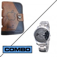 Combo of Paidu Japanese Watch and D and C Apple Leather Wallet