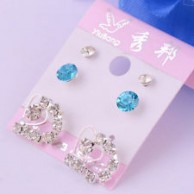 Women's Blue Topaz Gemstone Earring Set Stud