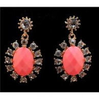 Women's Crystal Pink Nice Flowers Dangle Stud Earrings