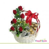 Ferrerocher chocolate with red rose basket CHO0010