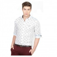 Collar Shirt White Printed
