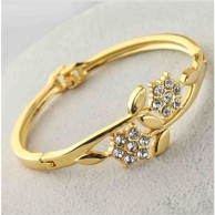 Austrian Gold Plated Flower Bangle