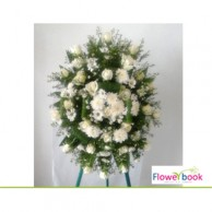 White roses 35 nos with chrysanthimum wreath SM0011