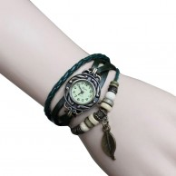 Green Weave Leather Strap Leaf Bracelet Watch