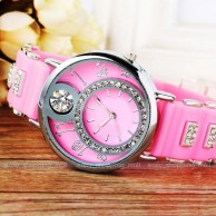 Elegant Crystal Rhinestone Cat Leather Watch