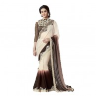 Cream Colored Border Worked Chiffon Georgette Saree MIN3006