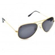 Black Shaded Gold Frame Aviator Polarized Sunglasses For Men With Pouch