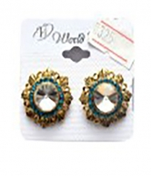 Blue Stoned Gold Plated Earrings