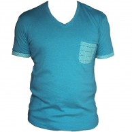 V neck with Pocket - Turq