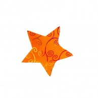 Pack Of 10 Orange Designed Christmas Decoration Star Stickers
