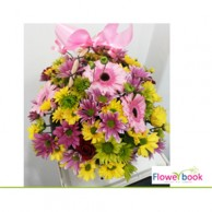Pink gerberas with pink shaded chryshanthimum flower arrangement NB001