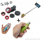 Selfie Kit Clip lens and selfie stick