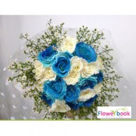 Blue roses with white rose bunch NB008
