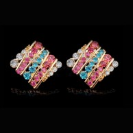 1 Pair of Crystal Rhinestone Earrings Fashion Jewellery E 011