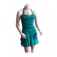 Green Neck Belt Short Pattern Frock