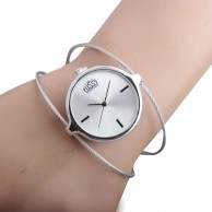 Steel Wire Band Quartz Bangle Wrist Watch