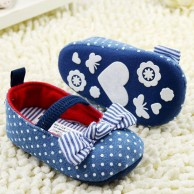 Girl Blue Polka Dot Crib Shoes