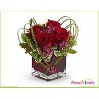 Red Roses with Glass vase Arrangement RM009