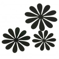 3D Wall Black Flower Design Deco