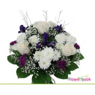 White roses with Baby spreath flower arrangement NB004