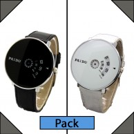 Pack of 2 Paidu Leather Strap Analog Watch for Men