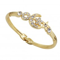 Gold Crystal Fashion Bangle Moon Star