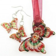 Red Butterfly Pendant and Butterfly Earrings