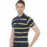 Collar T Shirt Navy Yellow Stripe