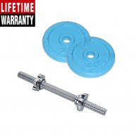 2 Pack Of 2.5Kg Sky Blue Hand Painted Weight Plate plus 1 Feet Barbell