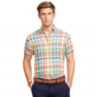 Men's Check Shirt Orange and Pink Short Sleeve
