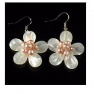 Pink Shell Flower Earrings