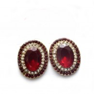 Red Stoned Stud Fashion Gold Plated Earrings