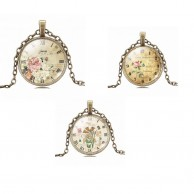 3X Vintage Flowers and Clock Necklaces Collection