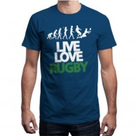 Live Love Rugby Blue T shirt for Men