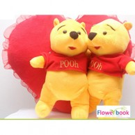 Two Pooh bear with pillow ST007